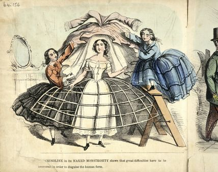 "Punch (the Met says 1850 but since the steel crinoline wasn't invented until '57 it must be newer than that).  The caption says ""CRINOLINE in its NAKED MONSTROSITY shows that great difficulties have to be overcome in order to disguise the human form."":"