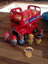 Happy Land ELC toys Big Red London Bus with people figures