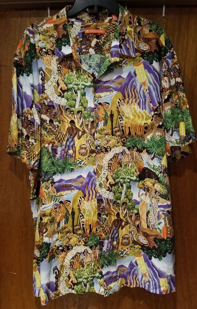 5ce54090e Vtg Tori Richard 56 Honolulu Men Hawaiian People Luau All Over Print Shirt  2XL #ToriRichard #ButtonFront