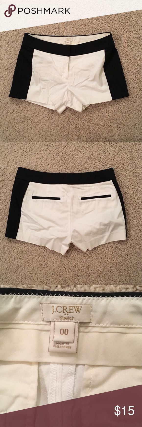 J Crew Tuxedo Black and White Shorts Super cute (and short!) black and white shorts from J Crew. Fabric has a bit of stretch, but not much.  No Stains. Smoke free home.  Gently worn. Size is 00 and I think runs a bit smaller than most J Crew shorts. J. Crew Factory Shorts