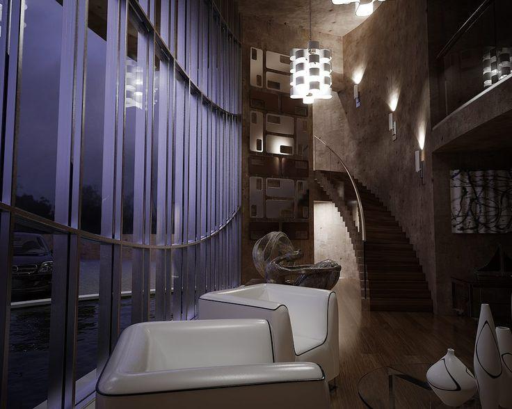 Casa de uma admiradora de arte, imagem feita com o 3D Max e Mental Ray.