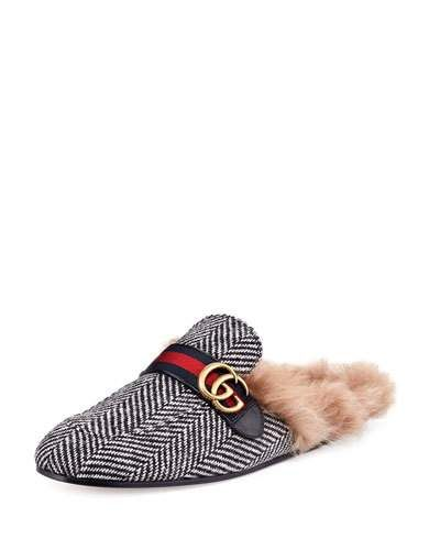 5184b606b1e GUCCI NEW PRINCETOWN HERRINGBONE FUR-LINED SLIPPER WITH DOUBLE G ...
