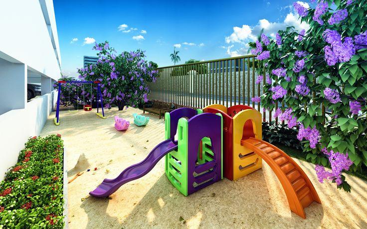 O playground, pensado com muito carinho, garantirá a diversão dos seus filhos.