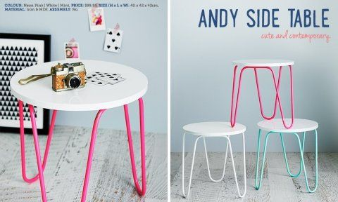Adairs side table works super well with the fluro pink single bedframe