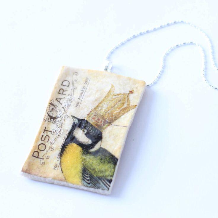 Chickadee Bird Necklace by thisandthatsparkle on Etsy