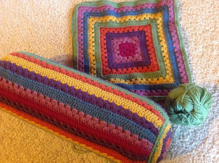 My crochet cushion and square adapted from Lucy Attic24 cosy cal