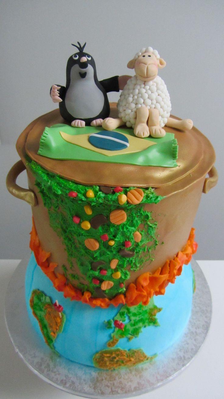 Ketel op aarde taart