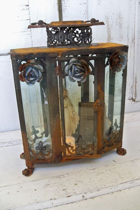 Ornate display case glass metal rusted by AnitaSperoDesign on Etsy, $220.00