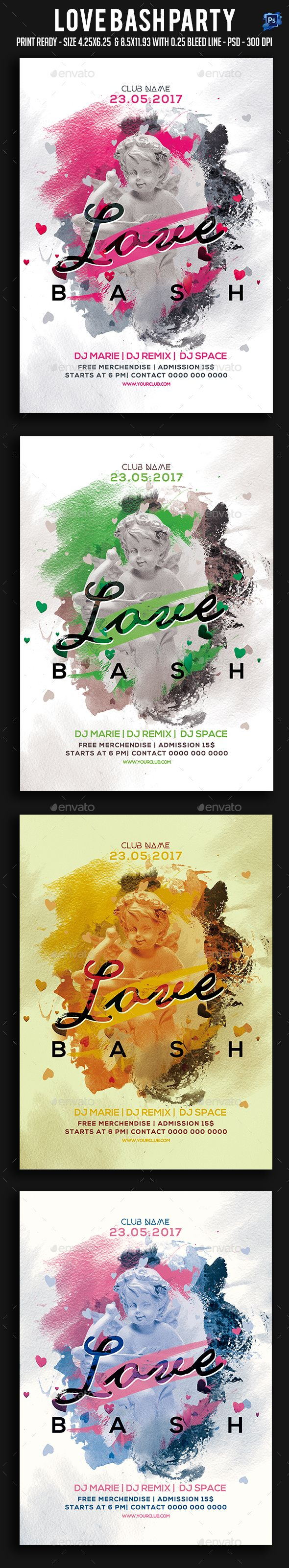 Love Bash Party Flyer Template PSD
