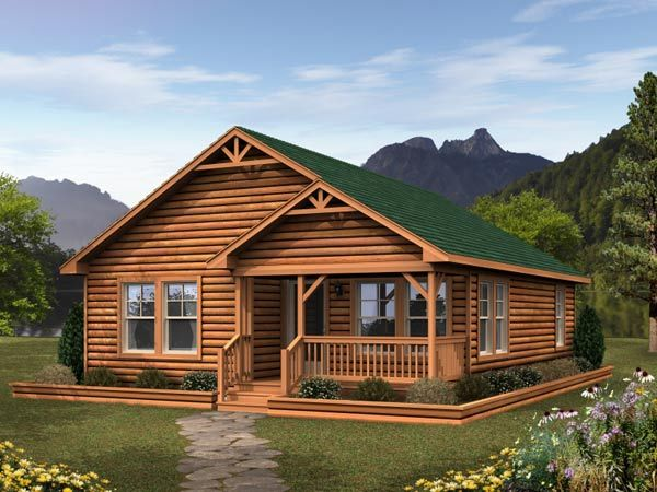 log cabin home photos | Wonderful-modular-log-cabin-home-design-with-green-roof-made-from-wood ...