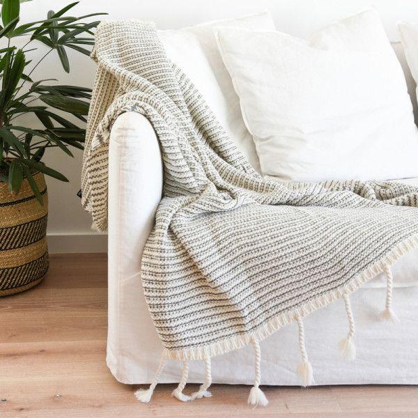 Mason Waffle Knit Throw - Grey