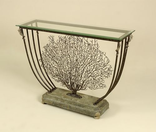 Buy Antiqued Glass Coffee Table Gun Metal Base At Fusion: Black Iron Coral Motif Console Table, Green Stone Base