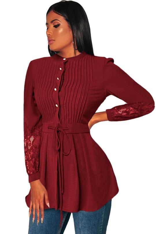 3b40d472d1922b Crinkle Chest Red Lace Panel Peplum Blouse in 2019 | Blouses ...