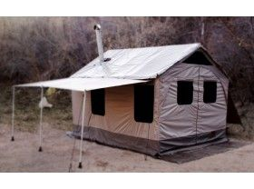 Barebones Outfitter tent. The best cabin tent I've seen in a long time! Gerat for long hunting expeditions all year round or as a family tent to last a long time.
