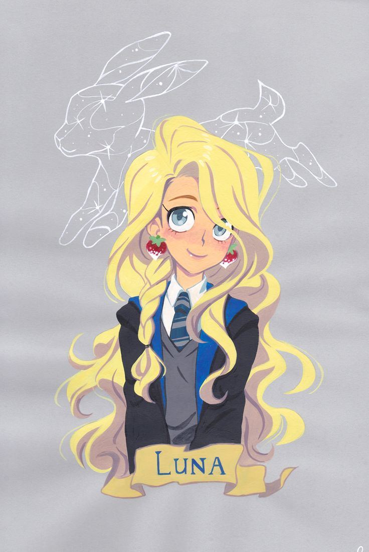 Luna Lovegood -- Gouache painting on colored paper