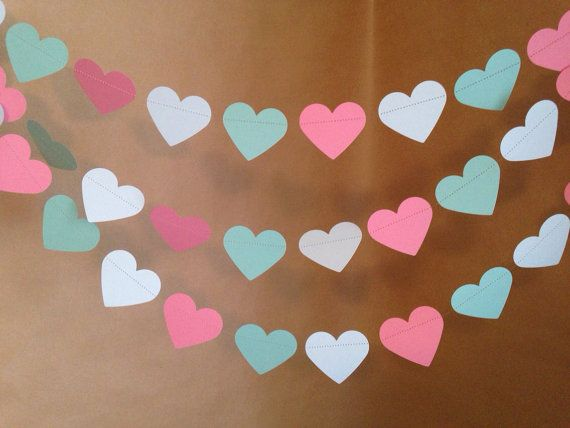 Coral and Mint Green Heart Garland Birthday Party Decor, Bachelorette Parties, Wedding Decor, Photo Props, Baby Shower Decor, Etc! on Etsy, $8.50