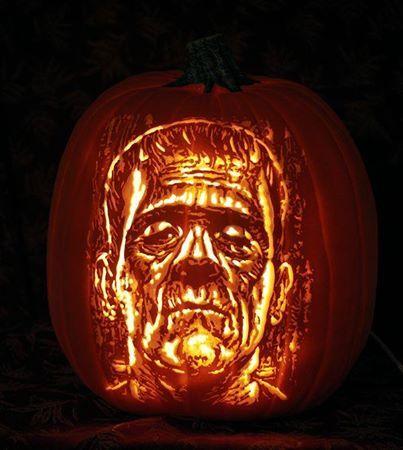 Frankenstein carved on a Funkin Carved by St0ney ~ stoneykins.com