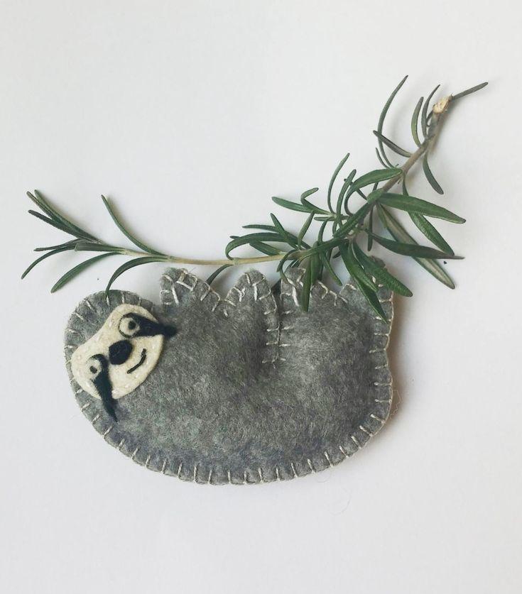 Sloth ornament felt, funny animal ornament, felt ornament, grey, Housewarming home decor by PrettyFeltThings on Etsy
