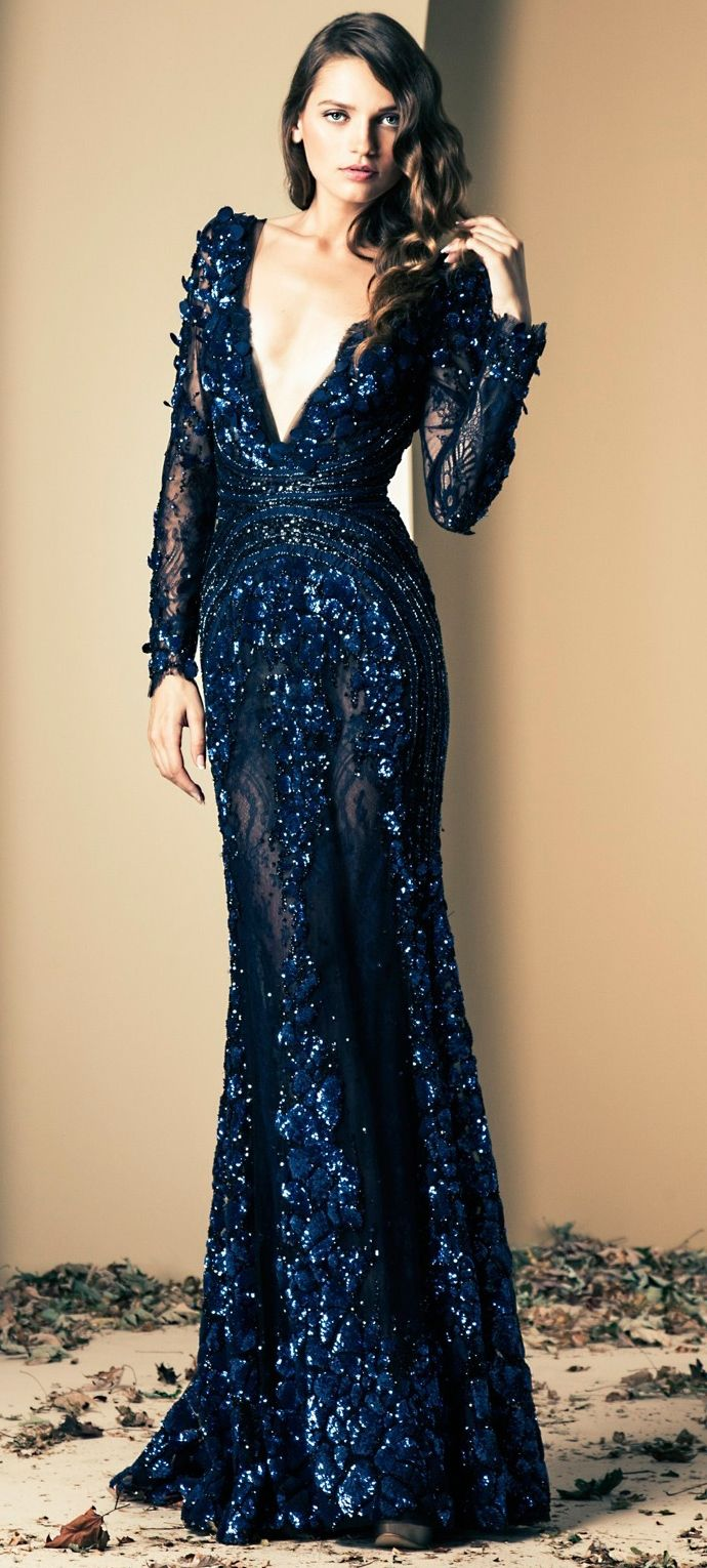 Ziad Nakad /Winter 2014. Style. Fashion. Blue Dress. Long Dress. Glamour. Luxury.