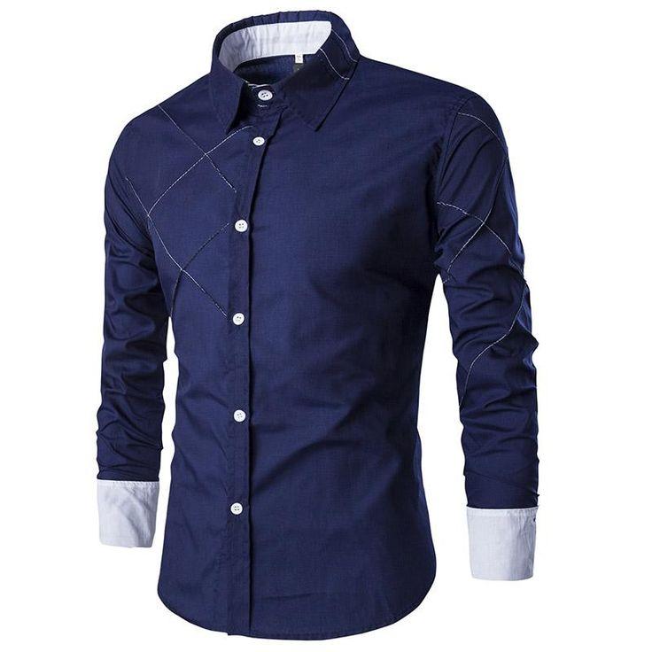 New Design Men Shirt Casual Turn-down Collar Striped Long Sleeve Dress Shirt
