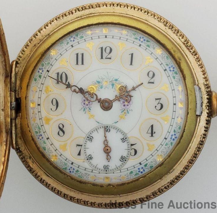 Ultra Fancy Dial Elgin Antique Hunter Stag Pocket Watch #Elgin