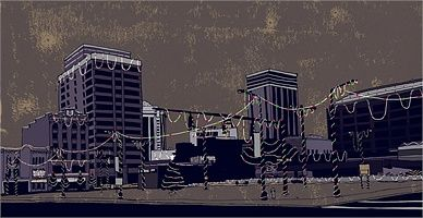 Buildings Illustration by Cliff Mills