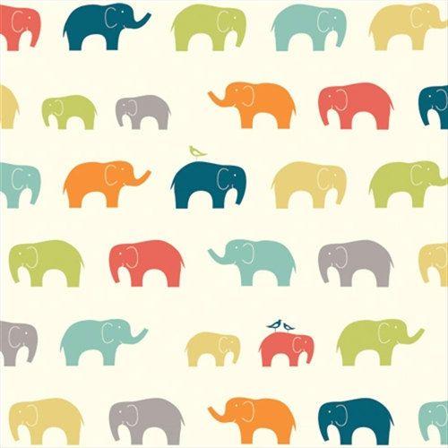 Ellie Fam Multi By Birch Fabrics 1 Yard Elephant