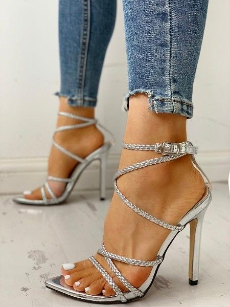 aba027e3be Ethnic Print Peep Toe Ankle Strap Thin Heeled Sandals in 2019 ...