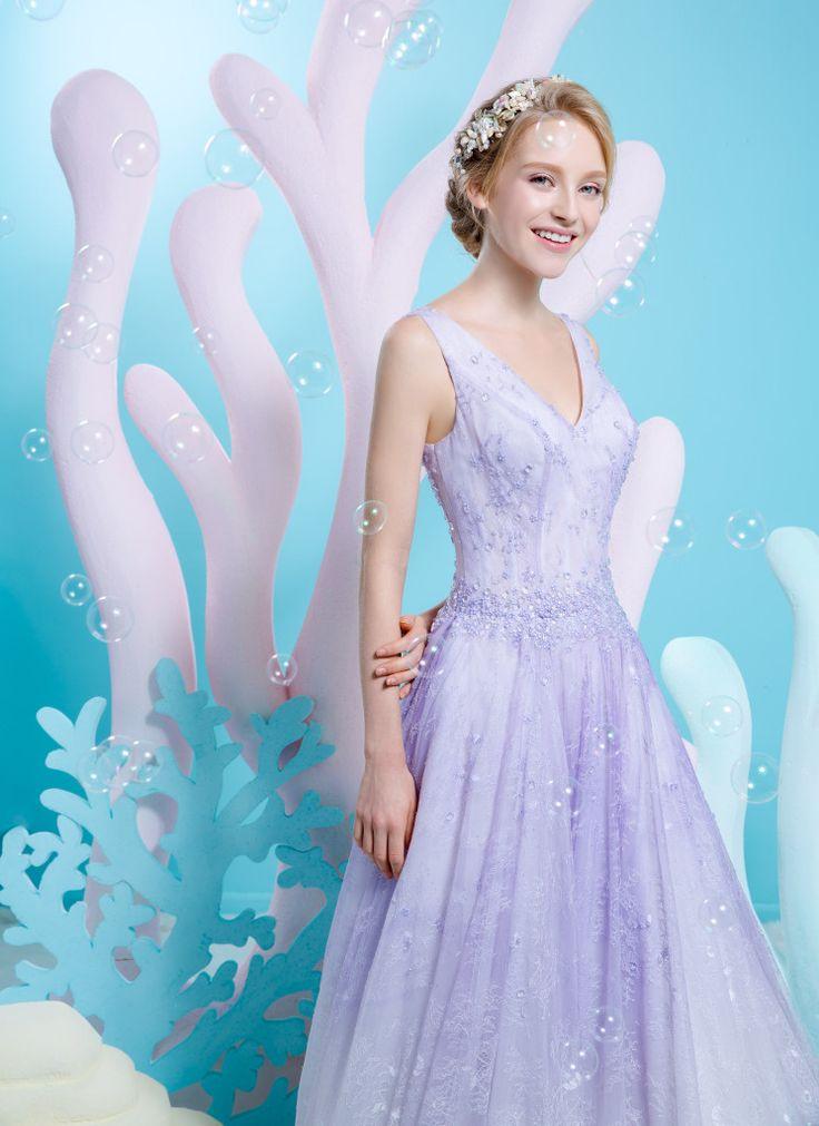 Good Pastel Purple Vneck Soft Lace Aline Dress Wedding Dresses Bridal With