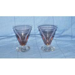 Vintage 2x Salmon Pink Bubble Petal Ball Martini Glasses