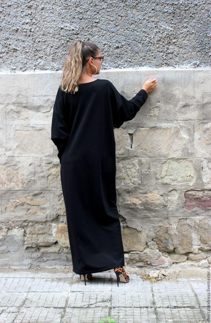 CHERRYBLOSSOMSDRESS Черное длинное макси платье с длинным рукавом из хлопка осень/зима