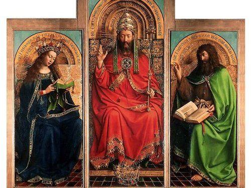 Гентский алтарь (фрагмент): в центре - Бог-Отец, справа - Иоанн Креститель, слева - Дева Мария