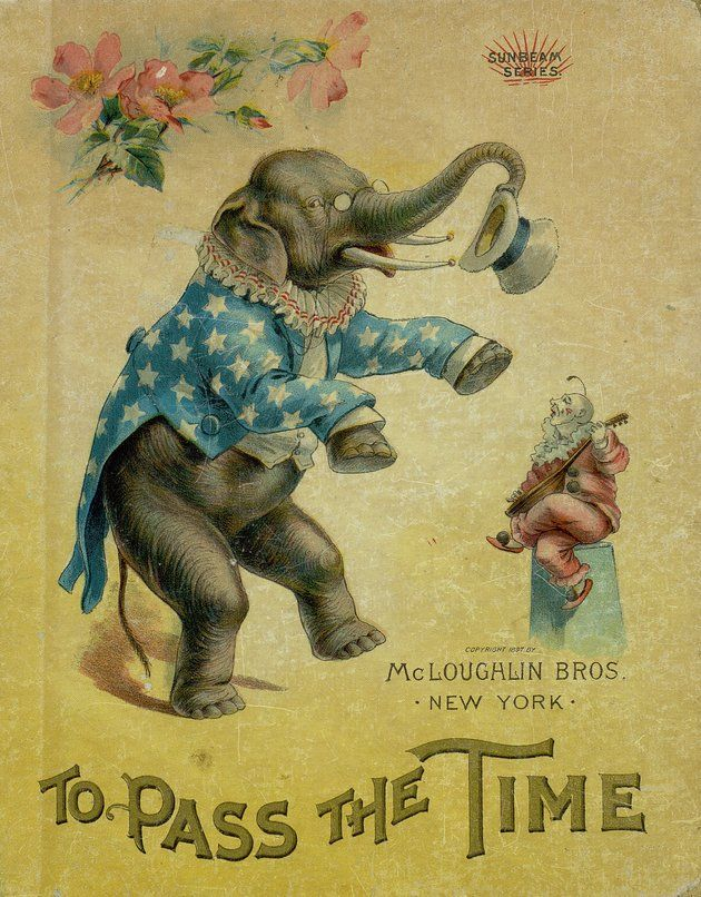 Vintage ephemera, advert with an elephant, To Pass the Time