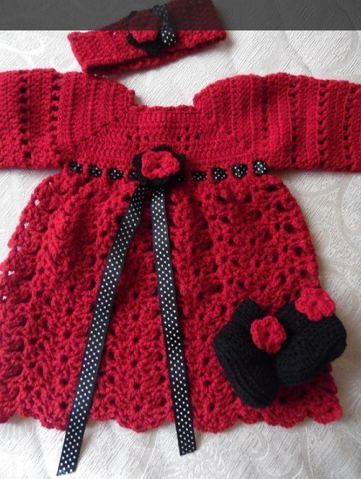 Completo vestitino, fascia per capelli e scarpine all uncinetto neonata