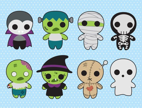 Premium Vector Clipart Kawaii Spooky by LookLookPrettyPaper