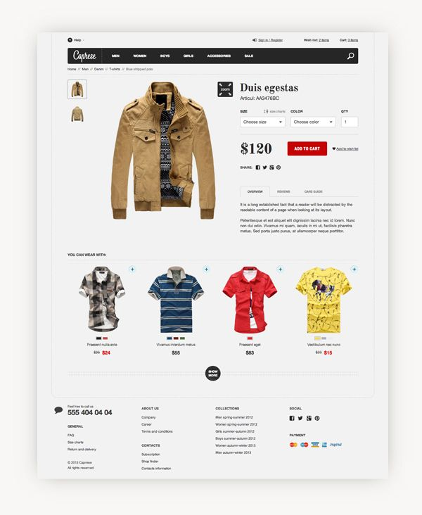 Caprese. E-commerce website template. by Vladimir Rusnak, via Behance