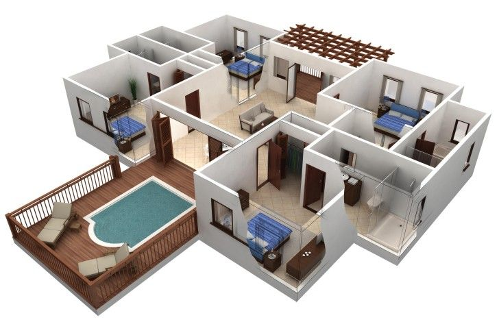 Beautiful Decoration, Astonishing 3d Floor Plan Huge Home Pland With Patio And Many  Rooms Inside: Design A Floor Plan Is Easier Nowadays | Decoration |  Pinterest ...