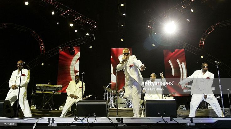 Ralph Tresvant, Johnny Gill, Ronnie DeVoe, Michael Bivins, Ricky Bell perform on the second night of the 2006 Essence Music Festival on July 2, 2006 at Reliant Stadium in Houston, Texas.