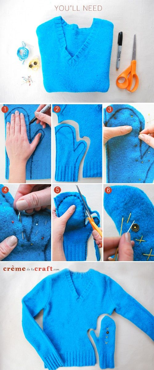 How to Make Sweater Mittens Out of an Old Sweater  ~t~