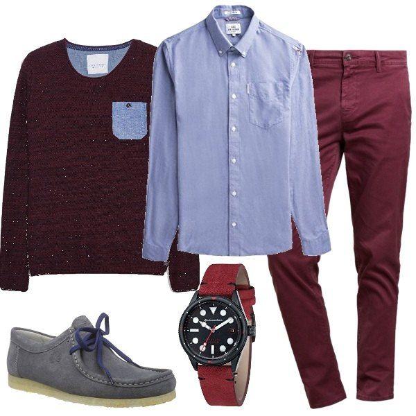 vasta selezione di 3c675 1bfba I pantaloni rosso scuro stanno bene con la camicia azzurra e ...