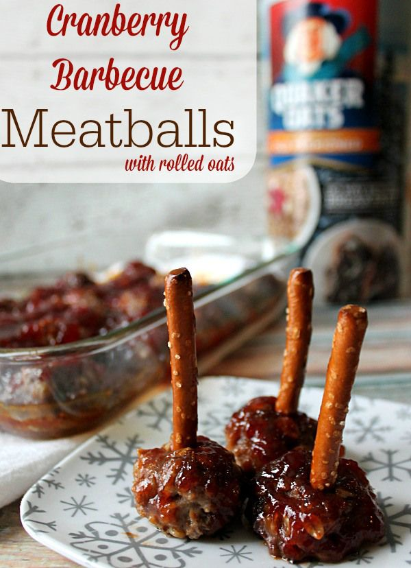 Cranberry Barbecue Meatballs with rolled oats  #QuakerUp #MyOatsCreation #CollectiveBias