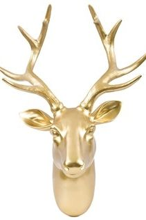 Add a chic, unique element to your home or office with this shiny gold deer head wall hanger!