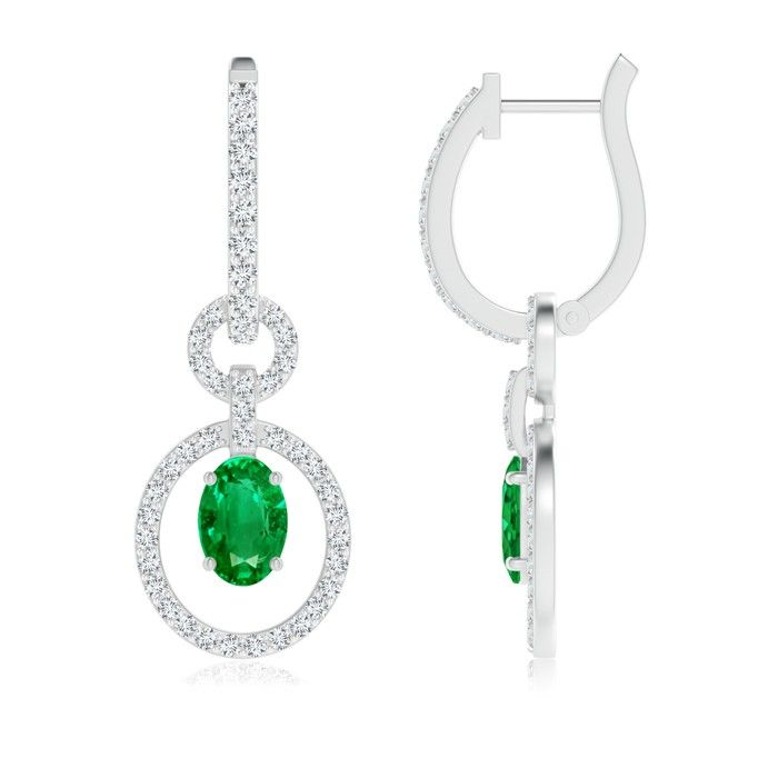 Angara Dangling Emerald Leverback Earrings with Diamond in Platinum BjKcNIJ