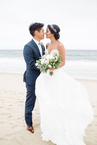 Eskimo kisses! http://www.stylemepretty.com/new-york-weddings/montauk/2015/05/29/elegant-montauk-wedding/   Photography: Betsi Ewing - http://betsiewing.com/
