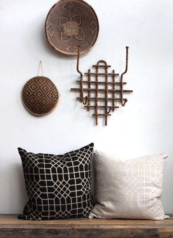 Penn Grid in metallic champagne hand printed on black organic hemp pillow cover 22x22 via Etsy