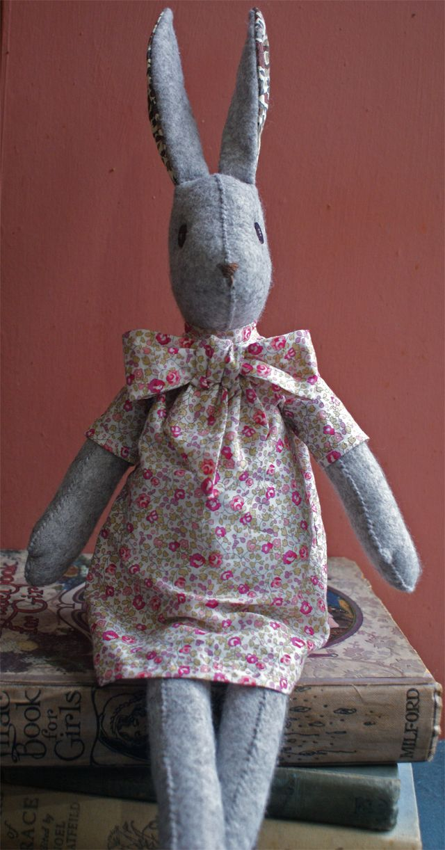 """Luna Lapin Felt and Liberty Crafting and Sewing Kit. Kit contains everything to make our charming 16"""" rabbity-hare, Liberty shirt dress with detachable bow."""