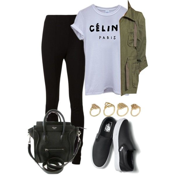 √ Céline Top √ Green Parka √ Black Skinny Jeans √ Black Leather Slip On Vans Shoes √ Prada Black Bag