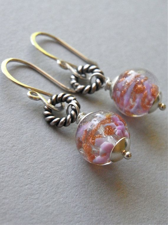 The Roswater earrings - beautiful Venetian glass beads which feature petal pink and glittery copper hues - these earrings are petite and sparkly!