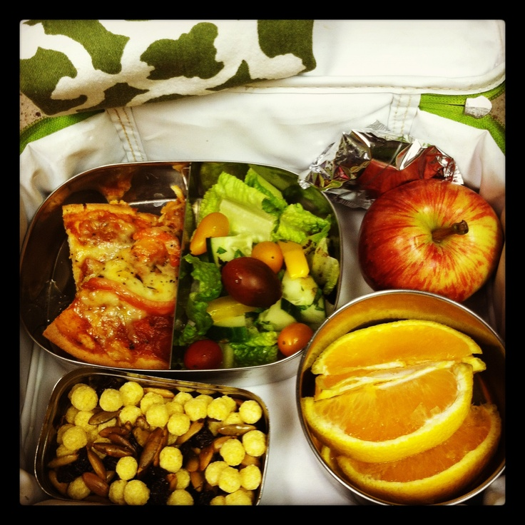 Gluten-Free Pizza, Salad, crunch n' munch trail mix, quinoa cookie and fruit for Lunchbox Options!