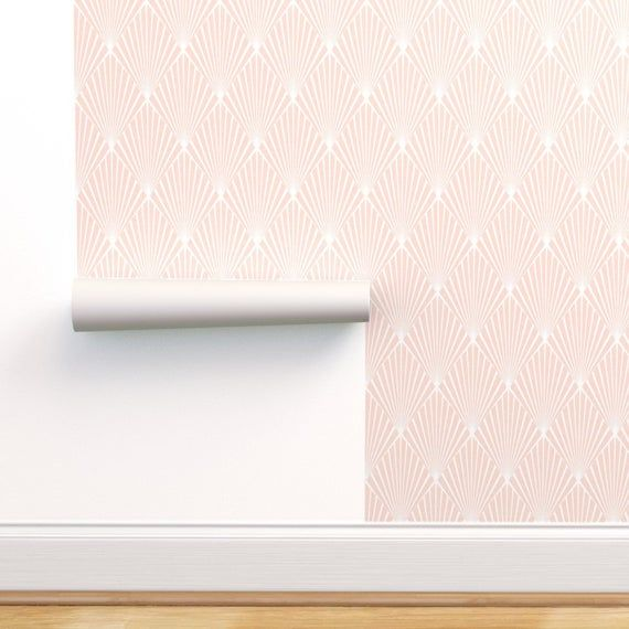Blush Wallpaper Art Deco Blush By Kimsa Geometric Pink Etsy Blush Wallpaper Wallpaper Self Adhesive Wallpaper